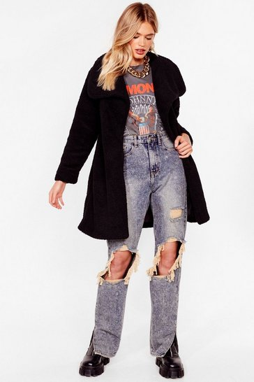 Black Teddy Faux Fur You Longline Coat