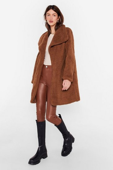 Brown Teddy Faux Fur You Longline Coat