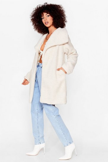 Stone Teddy Faux Fur You Longline Coat