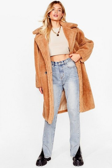 Camel We're Teddy Faux Fur You Oversized Coat