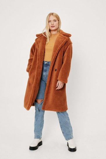 Chocolate We're Teddy Faux Fur You Oversized Coat