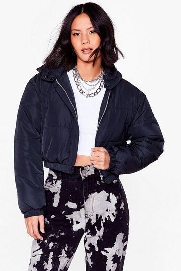 Black Turn Up the Volume Cropped Padded Jacket