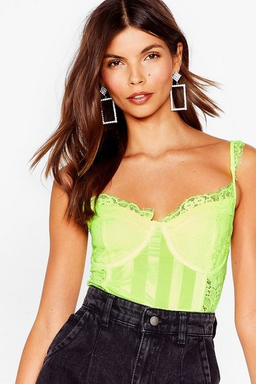 Lime Fall into Lace Strappy High-Leg Bodysuit