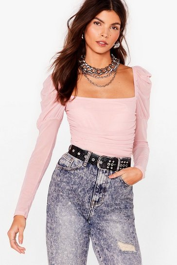 Pink Body Language Puff Sleeve High-Leg Bodysuit
