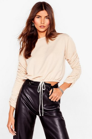 Stone Crop Right Now Ruched Sweatshirt