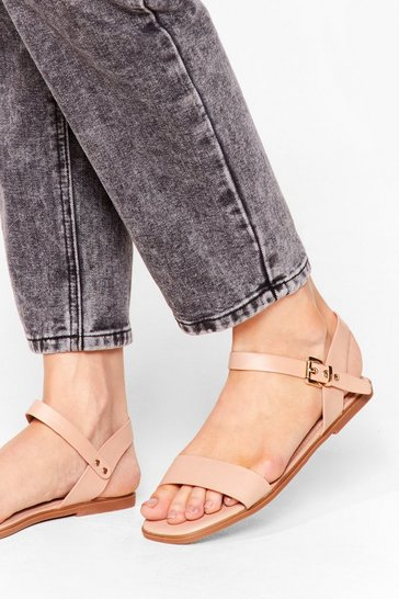 Nude Don't Go Square Faux Leather Flat Sandals