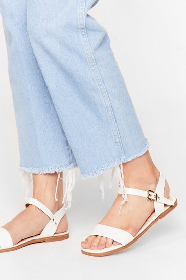 White Don't Go Square Faux Leather Flat Sandals
