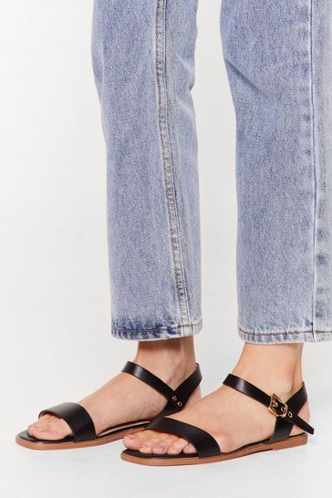 Black Don't Go Square Faux Leather Flat Sandals
