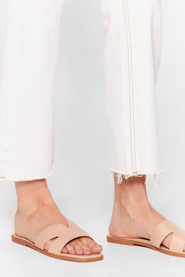 Nude Mule See Cut-Out Flat Sandals