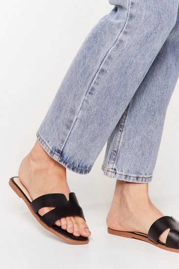Black Mule See Cut-Out Flat Sandals
