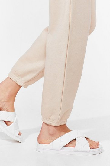 White Slide on Over Strappy Padded Sandals
