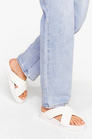White No Quilt Faux Leather Strappy Sandals