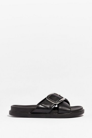 Black Faux Leather Cross Strap Buckle Sandals