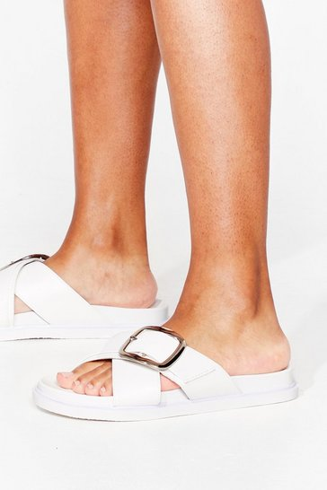 White Put It to Footbed Faux Leather Buckle Sandals