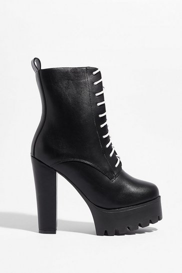 Black Rise Above It All Faux Leather Platform Boots