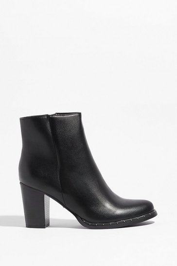 Black Let the Stud Times Roll Faux Leather Ankle Boots