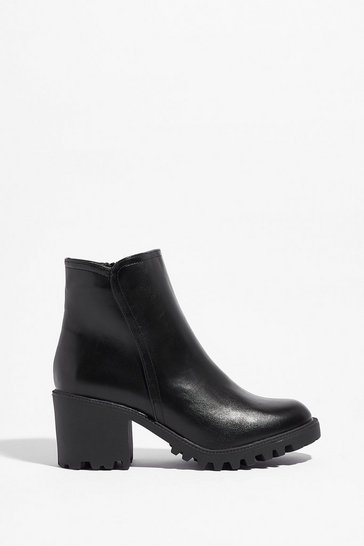Black Walk It Out Faux Leather Ankle Boots