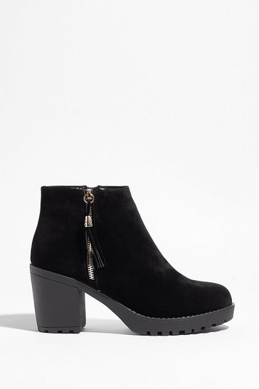 Black Worth the Tassel Faux Suede Ankle Boots