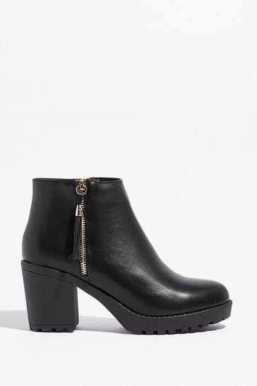 Black PU tassel side zip cleated ankle Boots