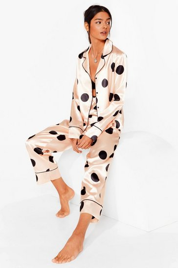 Champagne My Spotlight Satin Polka Dot Pajama Set