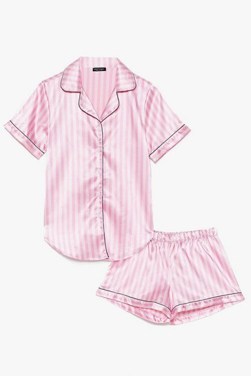 Pink Just Satin Bed Striped Pyjama Set