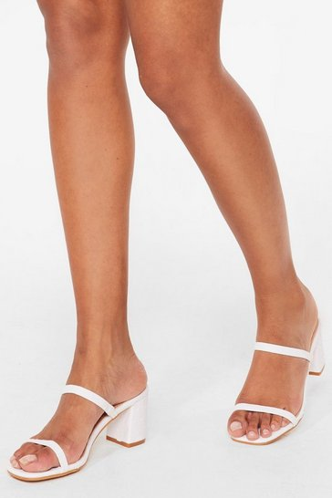 White A Strappy Medium Faux Leather Heeled Sandals