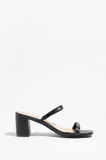 Black Don't Croc the Music Strappy Block Heel Mules