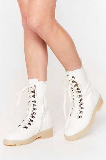 White On Your Hike-r Faux Leather Lace-Up Boots