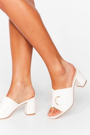 White New Thing Round Here Faux Leather Block Heels
