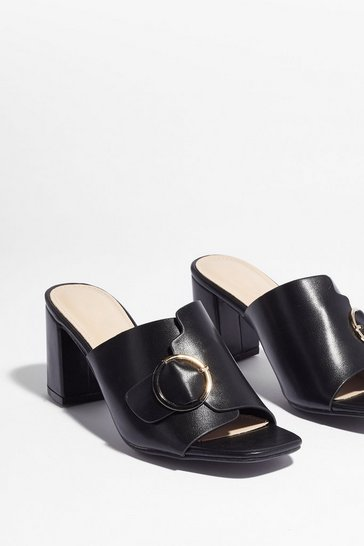 Black Mule Always Be My Baby Block Heel Mules