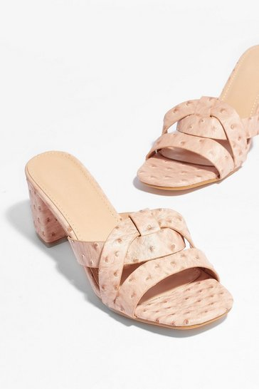 Nude Block Party Faux Leather Heeled Mules