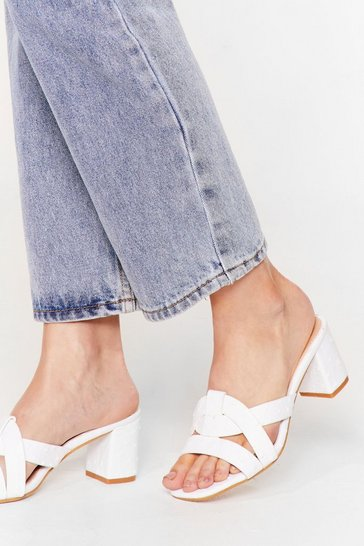 White Block Party Faux Leather Heeled Mules