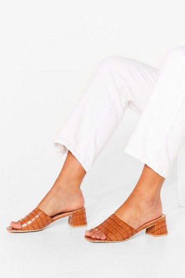 Tan Mule It Over Croc Heeled Mules