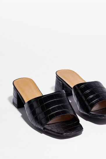 Mule It Over Croc Heeled Mules , Black