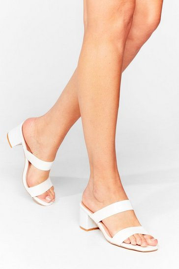 White Strap Back to Reality Croc Heeled Mules