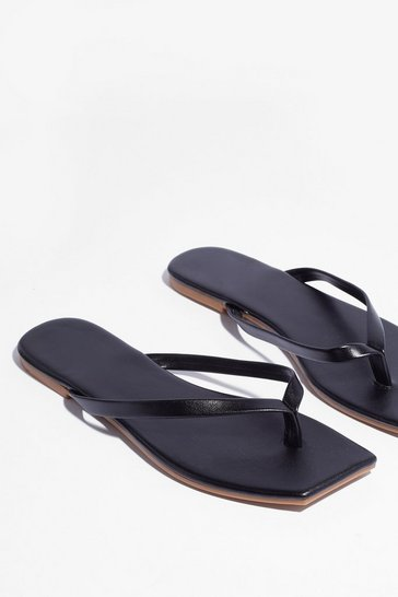 Black Slip's Meant to Be Faux Leather Toe Thong Sandals