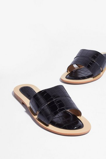 Black Ground Mules Croc Flat Sandals