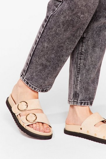 Beige Seeing Double Faux Suede Buckle Sandals