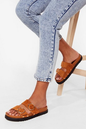 Brown Move Outta Our Way Faux Suede Buckle Sandals