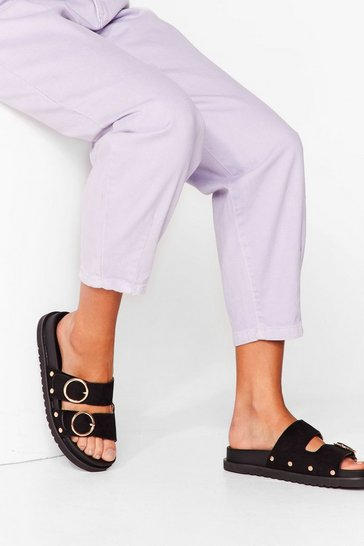 Black Ring It On Faux Suede Sandals