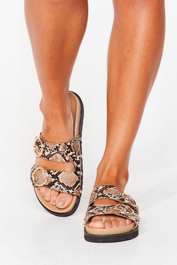 Nude Ring It On Snake Faux Leather Sandals