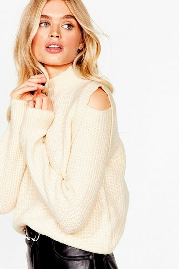 Cream Made the Cut-Out Knitted Sweater