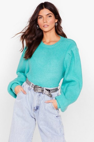 Aqua Ribbed Puff Sleeve Knit Sweater
