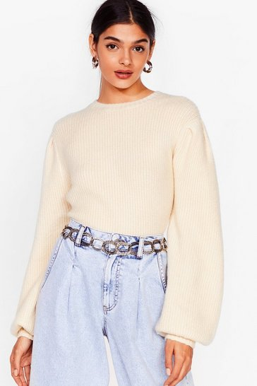 Cream Puff Sleeve 'Em Alone Knitted Jumper