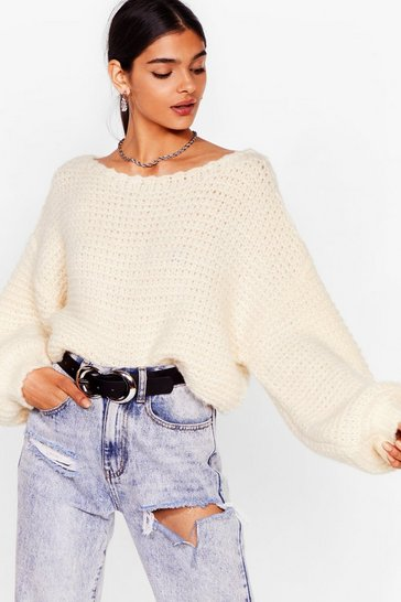 White Fuck 'Em Off-the-Shoulder Knitted Jumper