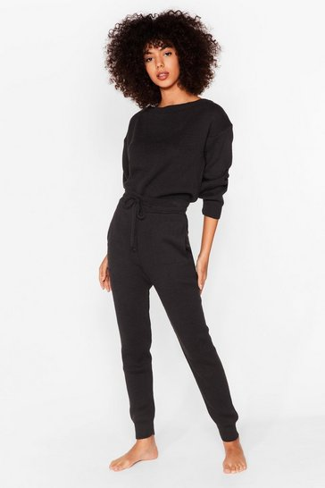 Black We're Knit Kidding Sweater and Joggers Set