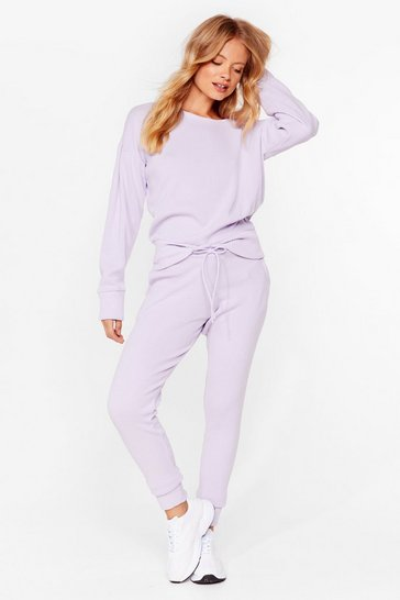Lilac We're Knit Kidding Sweater and Joggers Set