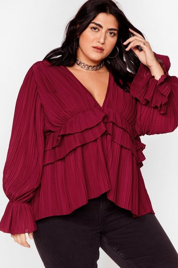 Chocolate Nice to Pleat You Plus V-Neck Blouse