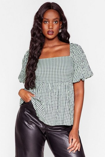 Green Plus Size Gingham Smock Top