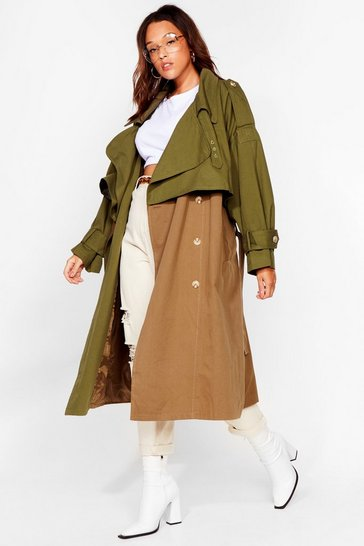Khaki Back to Mac Oversized Plus Trench Coat